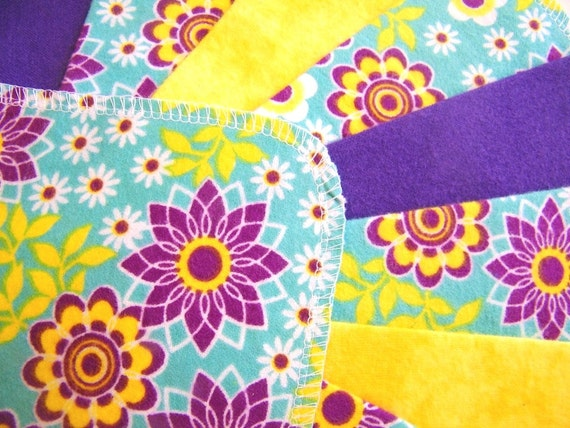 Purple and Yellow Floral, Flannel Cloth Baby Wipes, Wash Cloths, Purple, Yellow, Set of 24