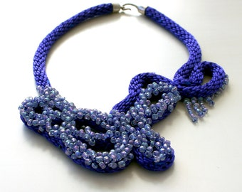 Choker Necklace, Cobalt Blue Beaded Fiber Art OOAK Bib Statement Necklace Designer Choker, Handmade, Unique Design