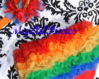Rainbow Set- Ruffle Bum Baby Bloomer and Inspired Vintage Lace Frayed Rainbow Flower on Stretch Headband-