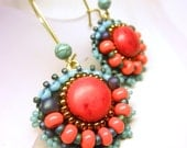 Coral Turquoise Seed Beads Dangle Brass Hoop Beaded Earrings -- Native American Ethnic Inspired