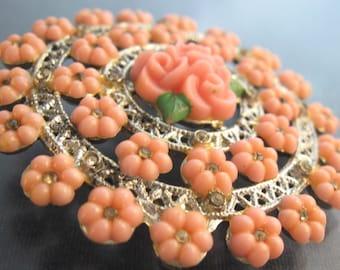 Pink Molded Flowers Brooch Rhinestones Pin Vintage