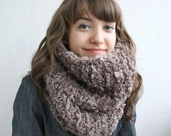 Handmade Milky Brown Fur Wool Chunky Loop Cowl Collar Scarf  Mothers Day gift
