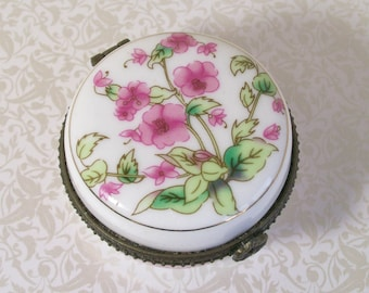 Pink Flowers Porcelain Trinket Box White Floral Jewelry Ring Vintage