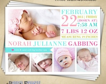 Instant Download - Photoshop PSD layered Templates for Photographers - Birth Announcement - Norah Julianne Design