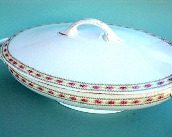 Vintage Covered Vegetable dish, JC Trianon, Bavaria, cr. 1920, Porcelain, Table, Roses  I Take CREDIT Cards
