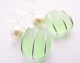 Seaglass Bridesmaids sets - Seafoam Green - Glass Pearl - Other Colors Available - necklace available - Weddings - affordable - seaside