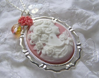 Classic Rose Lady Cameo - Victorian Elegance - Rose Garden - Coral and White cameo Necklace with charms