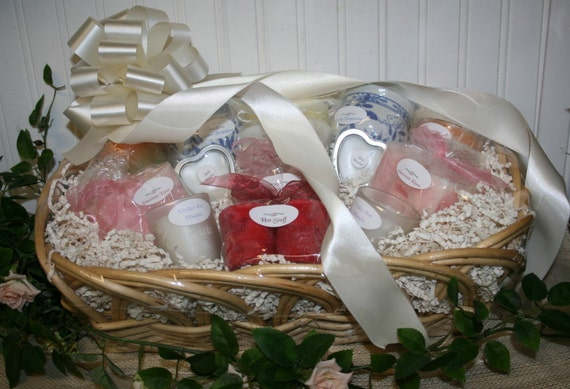 Wedding Candle Basket for Bridal Shower with Candle Poem - Wedding Gift Basket - Bridal Gift Basket