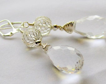 Elegant faceted crystal teardrop  dangle earrings  -     bridal, wedding, sparkle, glam