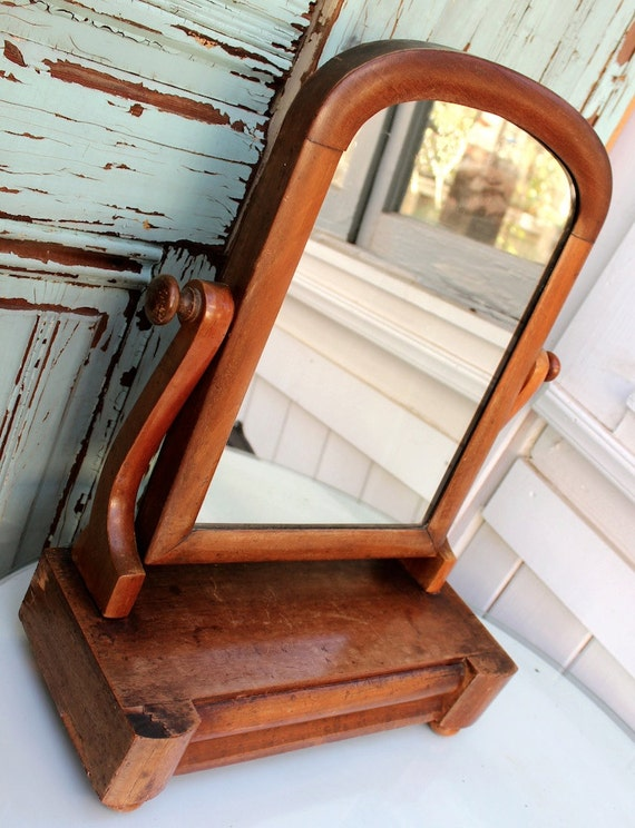 Antique Dresser Mirror Wood Swivels Drawer For Jewelry