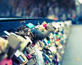 Paris Photography Print, Paris Pont des Arts Bridge, Colorful Love Locks, Travel Photography, Wanderlust Paris Decor, Bright Color Wall Art