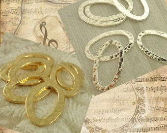 4 Premium Hammered Oval Components - 22mm X 15mm  -  Gold Plated or Silver Plated - 100% Guarantee