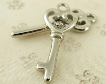 1 Stainless Steel Key with Heart Motif Charm - 20mm x 9mm - Handmade Jump Ring Included - 100% Guarantee