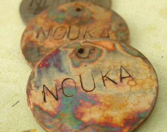 Hand Forged Textured and Oxidized Copper Pendant, Charm or Embellishment with Custom Sentiment