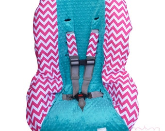 Toddler Carseat Cover Chunky Hot Pink Chevron