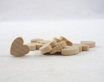 "12 Wooden hearts 1/2 inch wide (.5"") 1/8"" thick unfinished wood hearts diy"