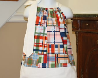 madras Pillowcase dress matching boys shorts available in Michael Miller red, white, blue, orange 3 mos.  Thru  4T  ..... Blake and Bailey