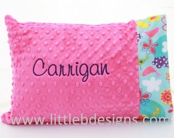 Personalized Minky Toddler Pillow Case and Pillow- Over 24 Minky Colors to Choose From