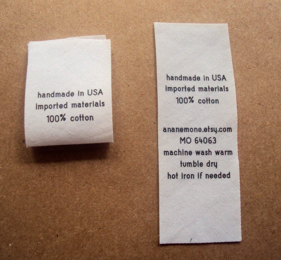 Fabric Care Labels Custom Garment Labels Fold Over By