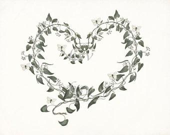Sweet Heart Farmhouse Chic Botanical Giclee Art Print