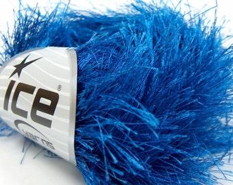 38 yds Royal Blue Extra Long Eyelash Yarn Ice Luxurious Blue Fun Fur 50gr 14155