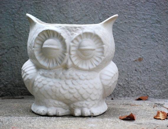 Items Similar To White Owl Planter ,owl Decor, Rustic