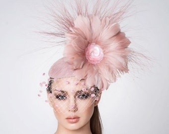 Melbourne Cup Blush pink Fascinator, Cocktail hat, Derby Hat, Couture Hat