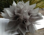 10 Cool Gray Paper Dahlia Napkin Rings. Perfect for weddings, receptions, baby showers, decor, birthdays. Tissue paper pom poms.