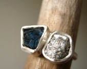 Reserved for Inga! Engagement Ring with Rough Diamond and Rough Blue Sapphire, Sterling Silver