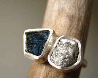 Engagement Ring with Rough Diamond and Rough Blue Sapphire, Sterling Silver