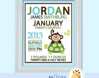 Boy Monkey and Turtle Birth Announcement Print - Baby Shower Birth Print