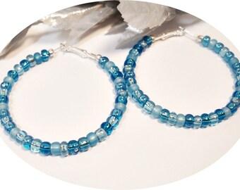 Blue Hoop Earrings, Large Hoops, Pirate Earrings, Blue Earrings, Funky Earrings, Big Hoop Earrings, Large Blue Earrings, Shades of Blue
