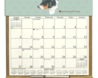 2016 CALENDAR - Jack Russell Terrier Dog Wooden  Calendar Holder filled with a 2016 calendar & an order form page for 2017.
