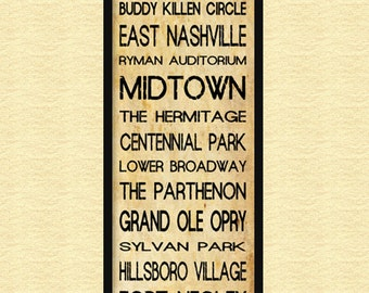 "Nashville Bus Roll - Grunge Subway Sign Bus Scroll 12"" x 36"" Poster Print"