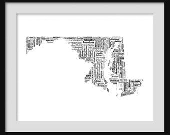 Maryland State mapTypography Map Poster Print