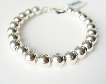 Sterling Silver 8mm Ball Bracelet - Weddings, Bride, Bridal, Bridesmaids Gifts