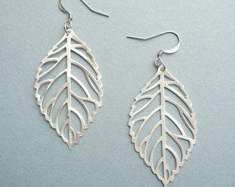 Silver Matt Leaf Earrings