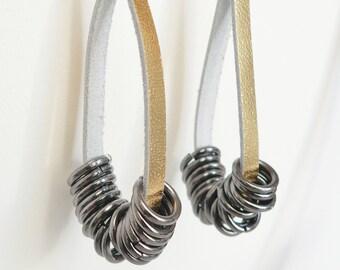 Golden Metallic Leather Hoop Earrings with Hematite Links