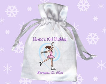 Ice Skating Birthday Party Favor Bags (Pack of 10) - Dainty Swirl Skater