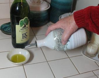 Free Shipping - Olive Oil Bottle - Cruet - Glazed in Our Espresso Mint Pattern