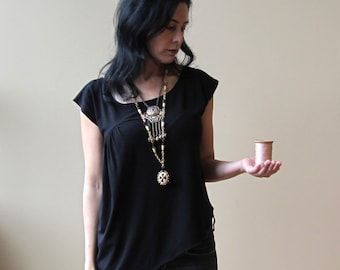 Sale, Extra Small, Black Top with Asymmetrical Side Drape, bamboo jersey, eco fashion, modern