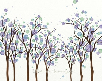 Purple Blue Watercolor Circle Tree Art 8 x 10 Print, Colors of Spring Home Decor, Abstract Nature Wall Decor Green Tree Print