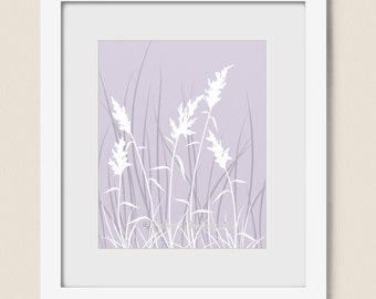 Wheat Grass Nature Wall Art Print for Bedroom or Living Room, Purple Lavendar Wall Decor, Purple Home Decor (189)