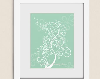 Flowering Tree Wall Art for Girls Room Decor, 11 x 14 Mint Green Home Decor, Living Room Art Print  (2)