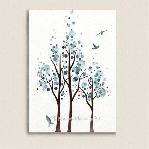 Blue Home Decor Watercolor Tree Print Flying Birds 5 X 7
