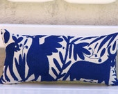 Cobalt blue Folk Art Pillow Sham-Otomi lumbar Embroidery Ready to ship. Mexican Suzani - CasaOtomi