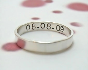 Personalized Ring - Hand Stamped Sterling Silver Ring - Personalized Wedding Band