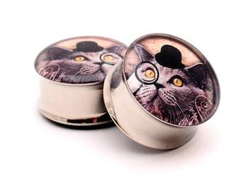 Gentleman Kitty Picture Plugs gauges - 1 1/8, 1 1/4, 1 3/8, 1 1/2 inch