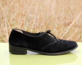 RARE Vintage 1950s Abercrombie & Fitch Black Suede Leather Oxfords Womens 8 1/2