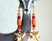 Flying Pig Carnelian Earrings, Orange When Pigs Fly Earrings, Gemstone Earrings, Whimsical Pigasus Earrings, Pig with Wings Earrings